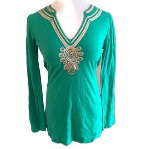 Lilly Pulitzer Green Gold 100% Cotton TunicSz S